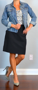 outfit post: print blouse, jean jacket, black pencil skirt, grey suede pumps