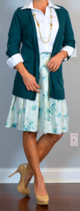 outfit post: teal boyfriend cardigan, white button down shirt, blue floral a-line skirt, nude pumps