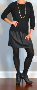 outfit post: black sweater, grey wool mini skirt, black ankle boots