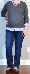 outfit post maternity: blue striped button down shirt, grey sweater, bootcut jeans, black flats