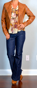 outfit post: brown leather jacket, floral print tie-neck blouse, trousers jeans, loafer pumps