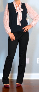 outfit post: pink tie-neckl blouse, navy sweater vest, black pants, burgundy pointed toe pumps