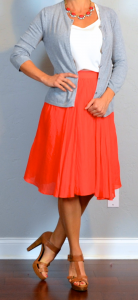 outfit post: red midi skirt, white tank, grey cardigan, brown t-strap heels