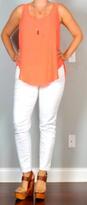 outfit post: orange layered tank, white cropped jeans, brown wedges
