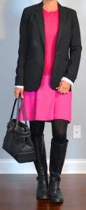 outfit post: pink dress, pink sweater, black boyfriend blazer. black boots