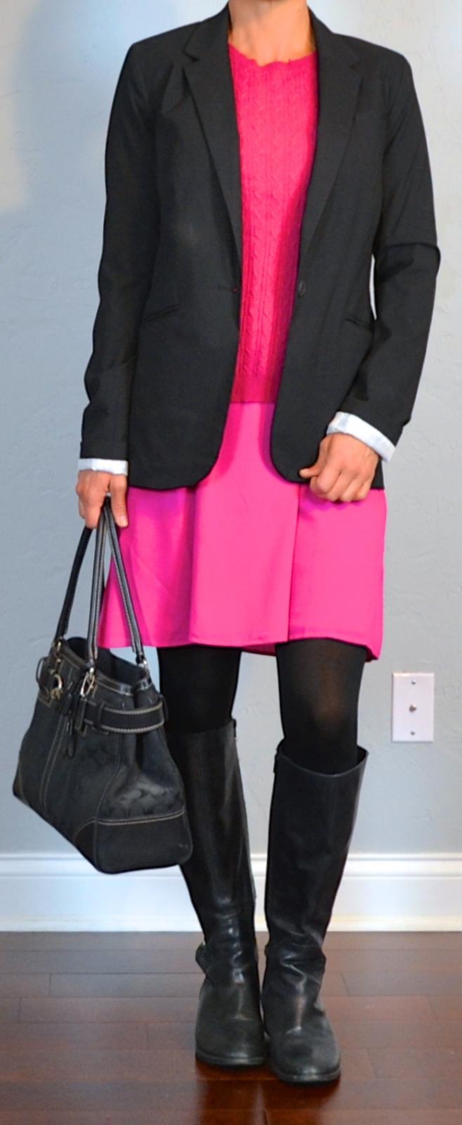 Outfit Post Pink Dress Pink Sweater Black Boyfriend Blazer. Black Boots