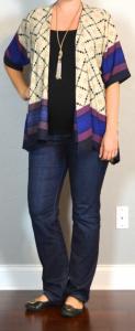 outfit post maternity: kimono, black maternity tank, bootcut jeans, black flats