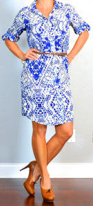 outfit post: blue patterned shirt dress, brown loafer pumps