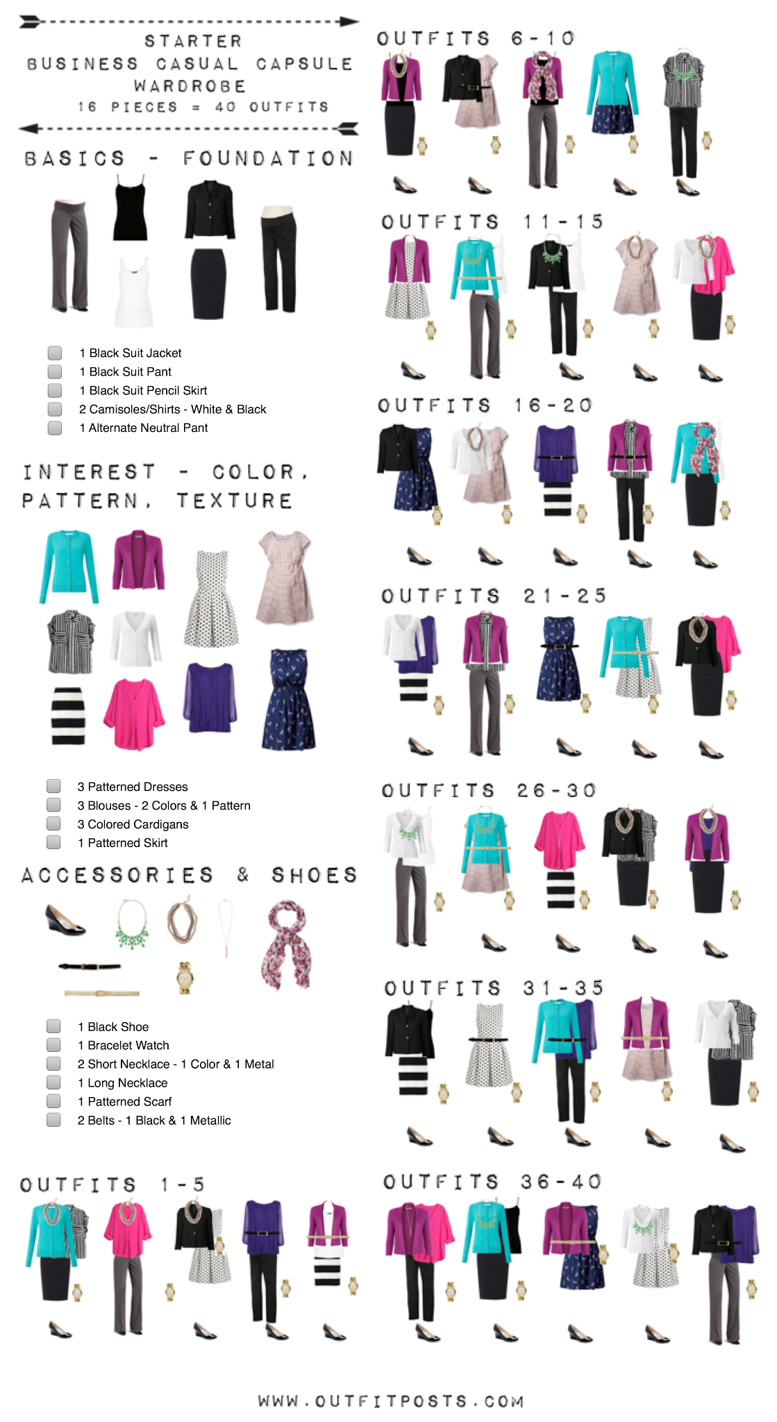 starter business casual capsule wardrobe checklist. Black Bedroom Furniture Sets. Home Design Ideas