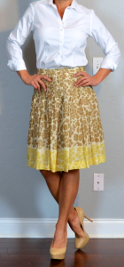 outfit post: yellow floral a-line skirt, white button up shirt, nude pumps