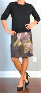 outfit post: black sweater, purple floral pencil skirt, black pumps
