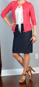 outfit post: coral cardigan, tie-neck blouse, denim pencil skirt