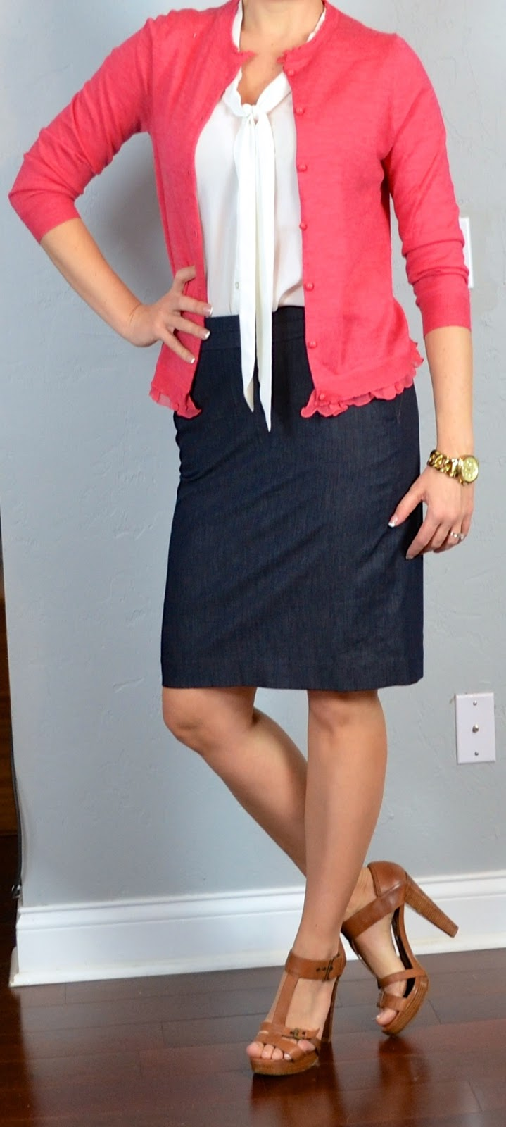 Outfit Post Coral Cardigan Tie Neck Blouse Denim Pencil Skirt