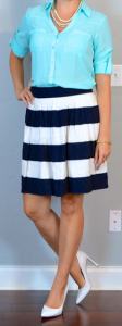 outfit post: teal camp shirt, navy & white striped skirt, white pumps
