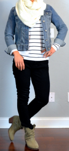 outfit post: jean jacket, striped shirt, black skinny jeans, ankle boots, cream knit infinity scarf
