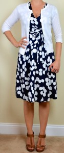 outfit post: navy & white polka dot dress, white cardigan, brown t-strap sandals
