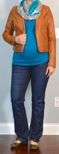 outfit post maternity: teal sweater, brown leather jacket, teal & grey infinity scarf, bootcut jeans, brown ballet flats