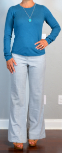 outfit post: teal sweater, grey 'editor' pants, brown t-strap heels