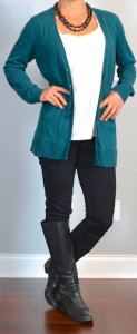 outfit post: teal boyfriend cardigan, white tank, black skinny jeans, black riding boots
