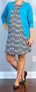 outfit post maternity: black & white print dress, teal cardigan, black flats