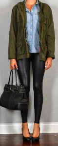 Guest outfit post – sister week: military jacket, chambray shirt, leather leggings, black heels