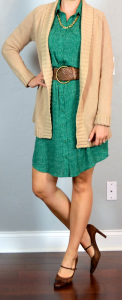 outfit post: green shirt dress, oatmeal cardigan, brown mary janes