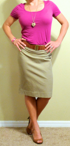 guest post – v: pink top, khaki pencil skirt, brown peep-toed pumps