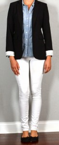 Guest outfit post – sister week: black suit jacket, chambray shirt, white skinny jeans, black flats