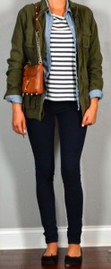 Guest outfit post – sister week: military jacket, chambray shirt, striped tee, black flats