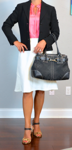 outfit post: coral top, white fluted skirt, black jacket, leopard heels