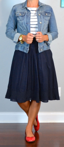 outfit post: striped shirt, jean jacket, navy a-line skirt, red ballet flats