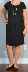 outift posts maternity: black maternity cap sleeve ponte dress, black flats