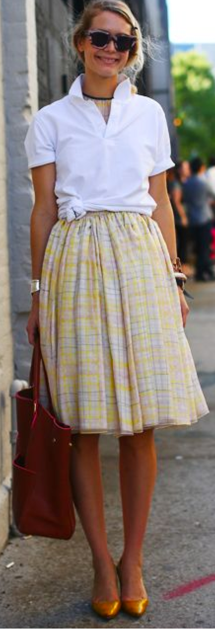 Outfit post yellow floral a-line skirt white button up ...