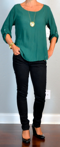 outfit post: green blouse, black skinny jeans, black wedges