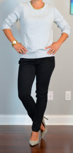 outfit post: grey sweater, black skinny jeans, grey suede pumps