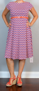 outfit post maternity: gameday orange & blue cap sleeve scoop back belted dress, orange wedges