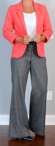 outfit post: coral blazer, grey wide-leg pants, pointed toe black pumps