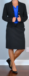 outfit post: black suit jacket & pencil skirt, cobalt blouse, black wedges