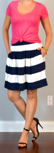 outfit post: pink t-shirt, navy & white striped skirt, black heeled sandals