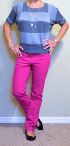 guest post – v: striped grey & silver top, fuchsia pants