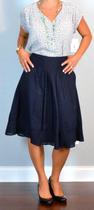 outfit post: cap sleeved dot blouse, navy a-line skirt, black wedges