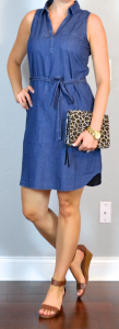 outfit post: sleeveless chambray dress, brown wedge sandals, leopard clutch