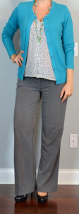 outfit post maternity: teal cardigan, dot blouse, grey wide legged pants