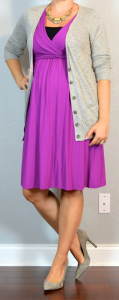 outfit post maternity: purple skater dress, grey cardigan, grey pumps