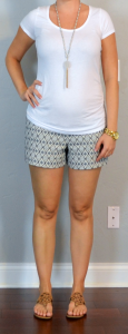 outfit post maternity: white t-shirt, navy tile jacquard riveria shorts, medallion sandals