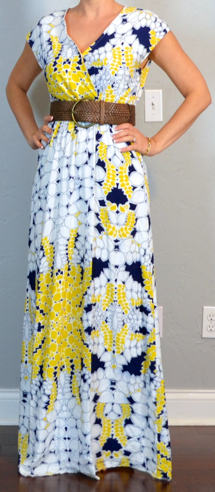 Wide belt with maxi dress