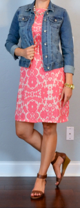 outfit post: peach/pink floral dress, jean jacket, brown wedge sandals