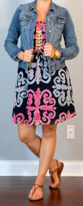 outfit post: medallion print dress, jean jacket, rope sandals