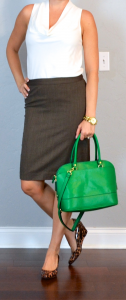 outfit post: cowl sleeveless neck top, brown pencil skirt, leopard wedges