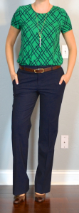 outfit post: green print blouse, navy work pants, brown mary janes